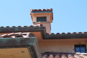 Eclipse Millennium Copper Gutter at outside miters with green over brown patina