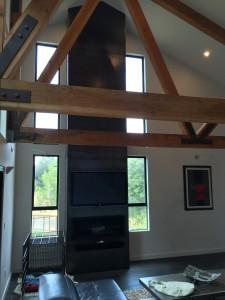 21' tall Steel Fireplace Surround & truss support brackets
