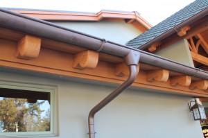 "6"" Half Round Copper Gutter w/Star Outlet, Extendable Elbow & Cast Brass Hangers"