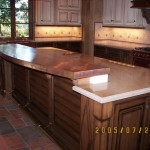 48 oz copper welded countertop with radius edge.