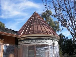 Standing seam copper panel turret