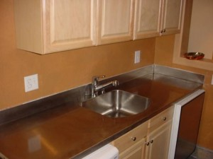 16 Ga Stainless Steel Countertop With Integrated Backsplash And Welded In Sink
