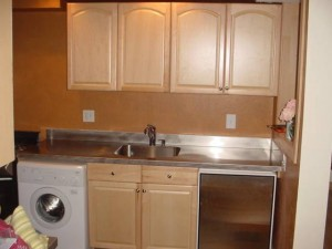 Stainless Countertop with Vibration Finish and Welded In Sink