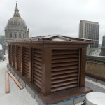Doghouse 48 oz welded copper louvers for San Francisco War Memorial Building