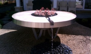 Custom stainless steel water trough and waterfall