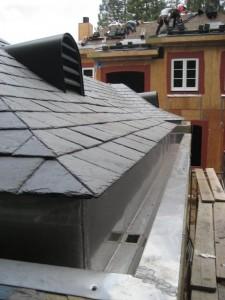 Graphite Gray Rheinzink Dormer, 20 ft stainless steel gutter