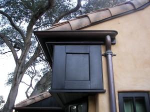 "6"" World Gutter System Half Round Copper Gutter, 3"" Cast Bronze Downspout Straps"