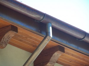 Half Round Copper Gutter W/Cast Bronze Hanger, Welded Downspout