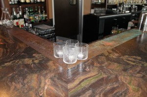Perforated 48 oz Copper Drink Rail for Eleve Restaurant in Walnut Creek, CA
