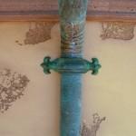 """3"""" Round Cast Bronze Fleur-de-lis Downspout Strap W/Green Patina"""