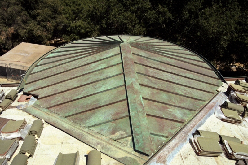 Copper Standing Seam Roof W Green Over Brown Patina