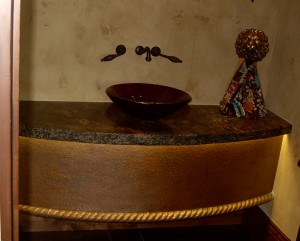 Textured Copper Vanity Base Cover with Rope detail