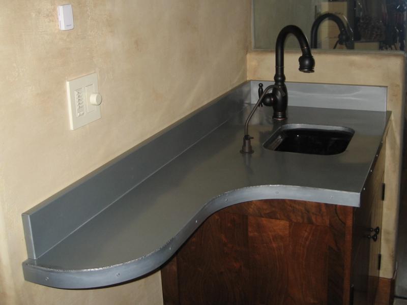 1 Mm Blue Gray Zinc Countertop With Radius Concord Sheet
