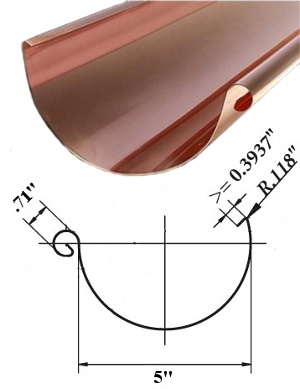 World Gutter Systems 5'' Half Round Copper Gutter