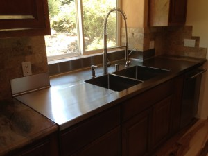 14 Ga Stainless Steel Countertop With welded-in double-bowl sink