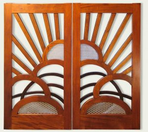 Wooden gate with perforated copper